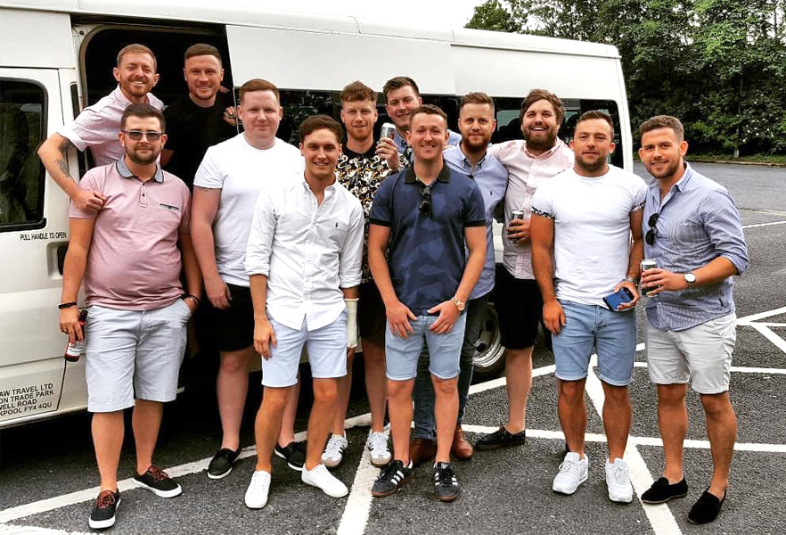 Young group of lads ready to enjoy their trip on a 16 seater with Blackpool Minibuses