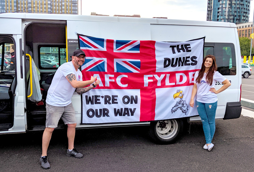 Providing transport to Scott, Stacey and the rest of Radio Wave to Wembley Stadium to watch AFC Fylde in the play-offs